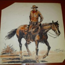 Cómics: PRECIOSO DIBUJO ORIGINAL EN ACUARELA DE JORDI BUIXADÉ BUXADÉ COWBOY SOBRE CABALLO WESTREN OESTE. Lote 110423523