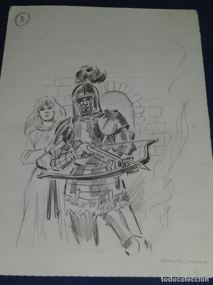 (AB1) DIBUJO ORIGINAL DE ANTONIO BERNAL , DIBUJO A LAPIZ , 34 X 23'5 CM, BUEN ESTADO (Tebeos y Comics - Art Comic)