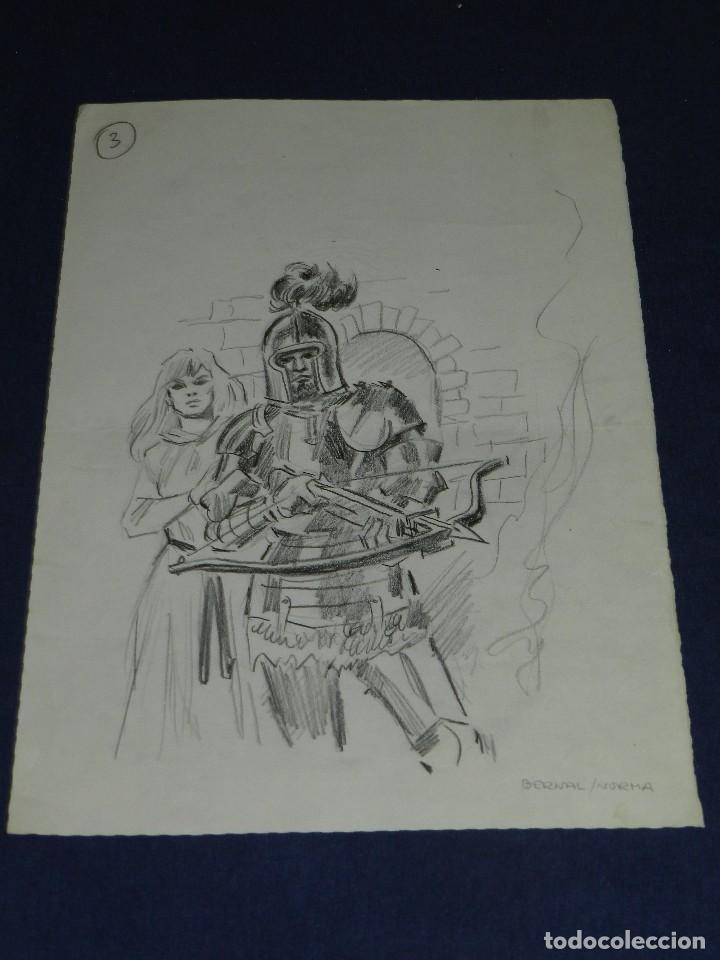 Cómics: (AB1) DIBUJO ORIGINAL DE ANTONIO BERNAL , DIBUJO A LAPIZ , 34 X 23'5 CM, BUEN ESTADO - Foto 2 - 111328987