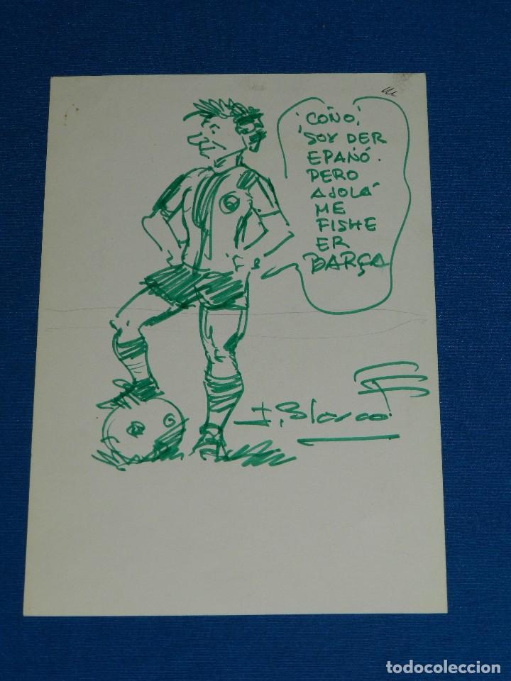 (JB1) DIBUJO ORIGINAL DE J BLASCO - DIBUJO DEL RCD ESPAÑOL , 21 X 14'5 CM, BUEN ESTADO (Tebeos y Comics - Art Comic)