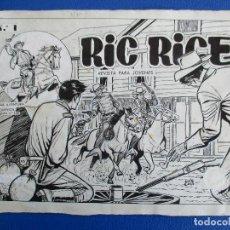 Cómics: RIC RICE, PORTADA DEL Nº 1. PLANCHA ORIGINAL.. Lote 114094519