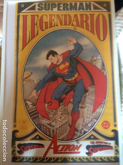 POSTER - SUPERMAN LEGENDARIO - DIBUJO DE GEORGE PEREZ - APROX. 88,5CM X 55,5CM - ZINCO (Tebeos y Comics - Art Comic)