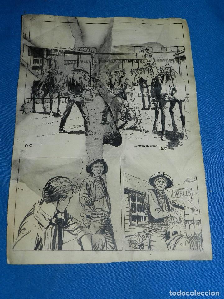 (LE1) DIBUJO ORIGINAL DE LOPEZ ESPI - 33 X 24 CM, EL DIBUJO TIENE MANCHAS , SEÑALES DE USO (Tebeos y Comics - Art Comic)