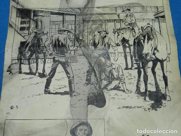 Cómics: (LE1) DIBUJO ORIGINAL DE LOPEZ ESPI - 33 X 24 CM, EL DIBUJO TIENE MANCHAS , SEÑALES DE USO - Foto 3 - 119073807