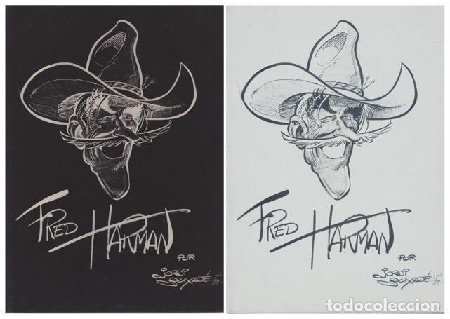 FOTOLITO EN NEGATIVO DE LA CARICATURA DE FRED HARMAN REALIZADA POR JORDI BUXADÉ EM 1978 (Tebeos y Comics - Comics - Art Comic)