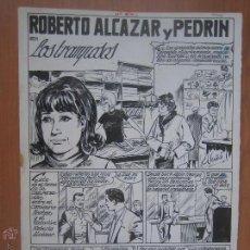 Fumetti: ROBERTO ALCAZAR EXTRA 1965, Nº 64 LOS TRAMPOSOS. 7 PLANCHAS ORIGINALES (SIN PORTADA). Lote 121291011