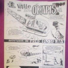 Cómics: DIBUJO ORIGINAL PLUMILLA, EL VALLE DE LOS OKAPIS, AVENTURAS FRED TORMENTA, TORTAJADA, 4 HOJAS, OR24. Lote 121877951