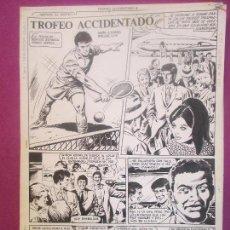 Cómics - DIBUJO ORIGINAL PLUMILLA, TROFEO ACCIDENTADO, AMOROS, LLIN, TENIS, 4 HOJAS, OR32 - 121882895