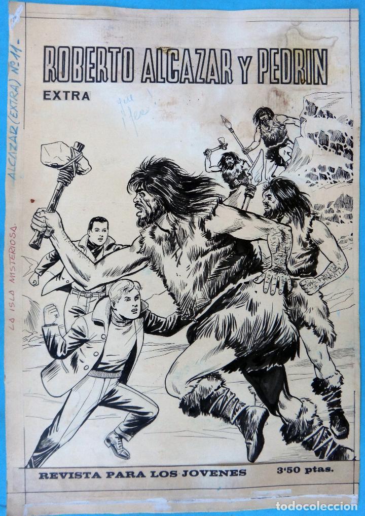 DIBUJO ORIGINAL PLUMILLA, ROBERTO ALCAZAR Y PEDRIN EXTRA Nº 11 , PORTADA 1 HOJA O PLANCHA , M3 (Tebeos y Comics - Art Comic)