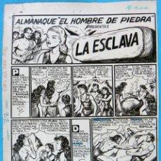 Cómics: DIBUJO ORIGINAL PLUMILLA, ALMANAQUE PURK HOMBRE DE PIEDRA 1976 , GAGO ,7 HOJAS O PLANCHAS , M3. Lote 122420891