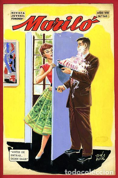 DIBUJO ORIGINAL COLOR, JOSE LUIS , PORTADA DE MARILO , Nº 165 , ORIGINAL , M3 (Tebeos y Comics - Art Comic)
