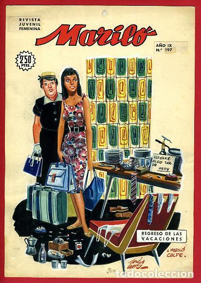 DIBUJO ORIGINAL COLOR, JOSE LUIS , PORTADA DE MARILO , Nº 197 , ORIGINAL , M3 (Tebeos y Comics - Art Comic)