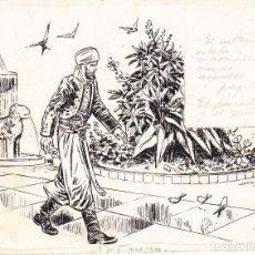 Cómics: JAIME JUEZ CASTELLÁ - XIRINIUS (BARCELONA 1906 - 2002) DIBUJO ORIGINAL A TINTA. EL PESCADOR Y EL GEN. Lote 124509407