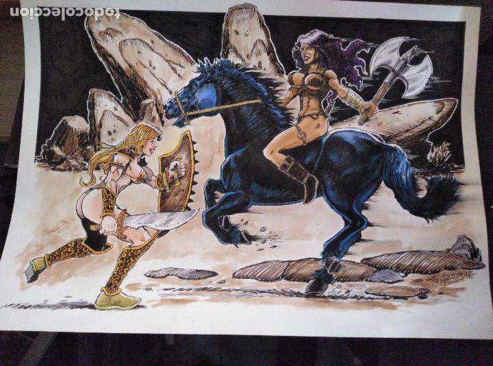 AL ATAQUE! - DIBUJO ORIGINAL, FIRMADO. 42 X 29,5 CM. (Tebeos y Comics - Art Comic)