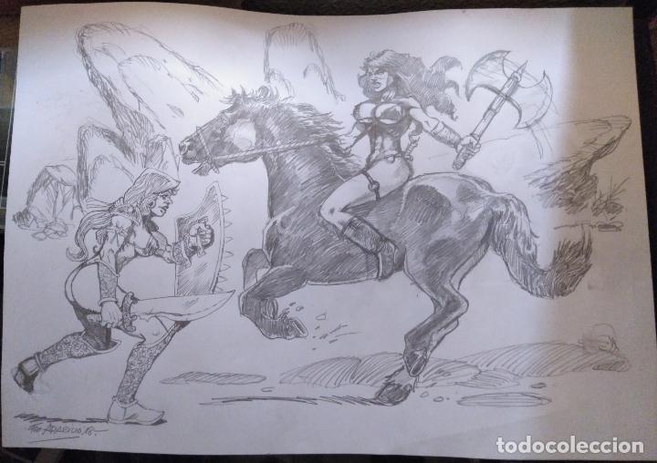 AL ATAQUE! - DIBUJO PREVIO A LAPIZ, ORIGINAL, FIRMADO. 42 X 29,5 CM. (Tebeos y Comics - Art Comic)