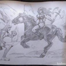 Cómics: AL ATAQUE! - DIBUJO PREVIO A LAPIZ, ORIGINAL, FIRMADO. 42 X 29,5 CM.. Lote 125104755