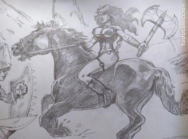 Cómics: AL ATAQUE! - Dibujo Previo a Lapiz, Original, firmado. 42 x 29,5 Cm. - Foto 2 - 125104755