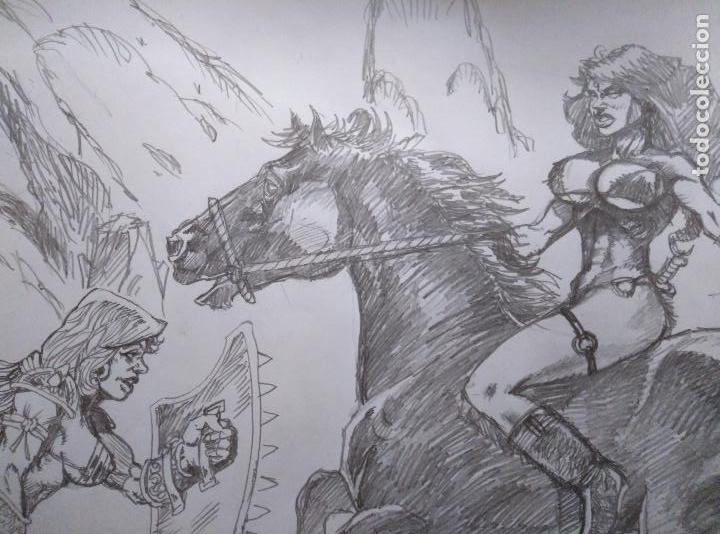 Cómics: AL ATAQUE! - Dibujo Previo a Lapiz, Original, firmado. 42 x 29,5 Cm. - Foto 3 - 125104755