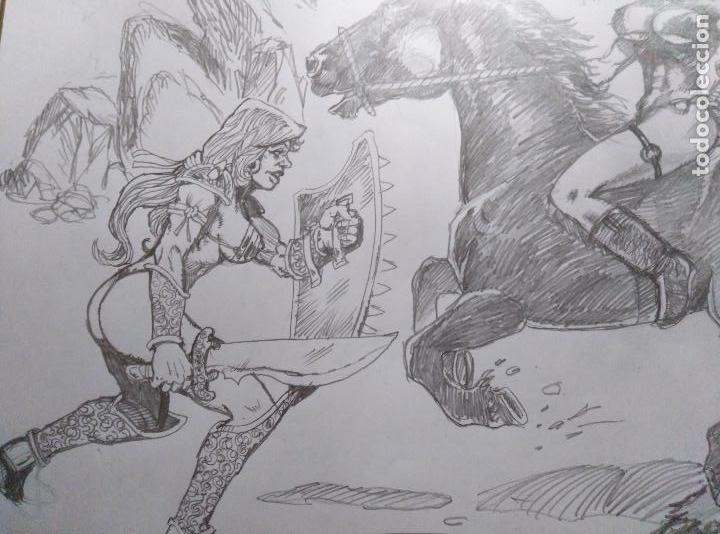 Cómics: AL ATAQUE! - Dibujo Previo a Lapiz, Original, firmado. 42 x 29,5 Cm. - Foto 4 - 125104755