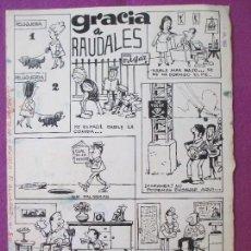 Cómics: DIBUJO ORIGINAL PLUMILLA, GRACIAS A RAUDALES, CONTRAPORTADA EXTRA R. ALCAZAR, EDGAR, 1967, S7. Lote 126570263