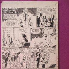 Cómics: DIBUJO ORIGINAL PLUMILLA, LAS MANOS DE OSWALD, 1966, GUERRERO, AVENTURAS, 4 HOJAS, G3. Lote 126570679