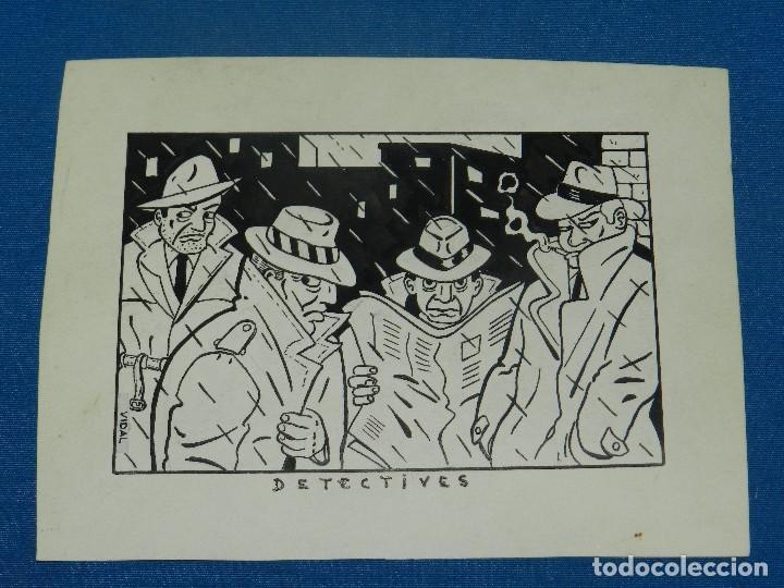 (V1) DIBUJO ORGINAL DE VIDAL , 17 X 13 CM, BUEN ESTADO (Tebeos y Comics - Art Comic)