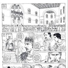 Cómics: ART COMIC DE GASPAR MEANA LA CRONICA DE LEODEGUNDO 52 X 37 CM PREMIO HAXTUR CARPETA GASPAR. Lote 129213639