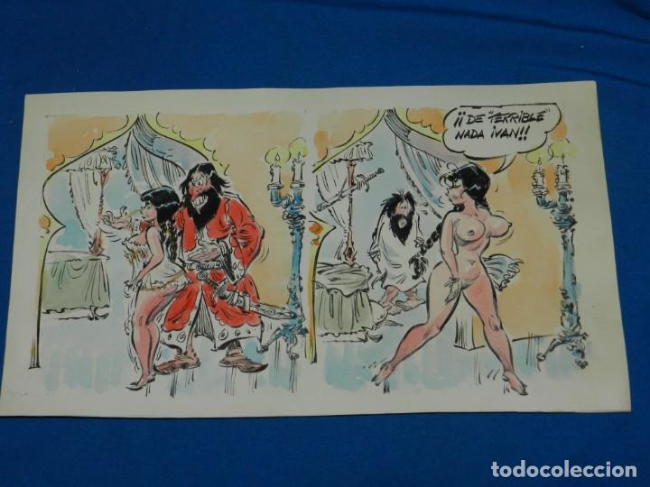 (BD) DIBUJO ORIGINAL DE JORDI BUXADE - DIBUJO EROTICO A COLOR , 35 X 20'5 CM SEÑALES DE USO (Tebeos y Comics - Art Comic)
