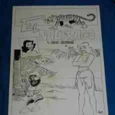 Cómics: (BD) DIBUJO PORTADA ORIGINAL DE CARRILLO - EL NAUFRAGO Y OTRAS HISTORIAS , 41 X 28'5 CM. Lote 133333594