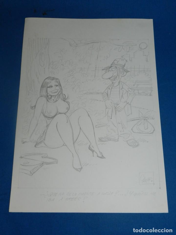 (BD) DIBUJO ORIGINAL DE CARRILLO A LAPIZ - EROTICO , 34 X 24 CM, BUEN ESTADO (Tebeos y Comics - Art Comic)