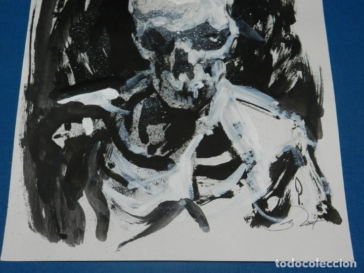 Cómics: (B/D) DIBUJO ORIGINAL DE GEORGE PRATT (TEXAS 1960) ESPECTACULAR DIBUJO CALAVERA 34 X 28 CM - Foto 3 - 134417882