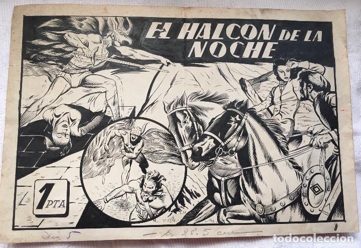 ORIGINAL PORTADA 1942 EL HALCON DE LA NOCHE NUMERO 17 (Tebeos y Comics - Art Comic)