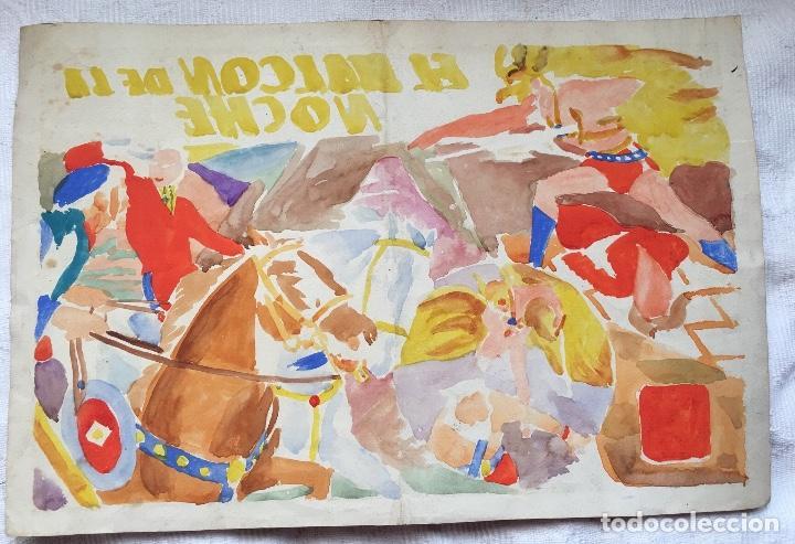 Cómics: ORIGINAL PORTADA 1942 EL HALCON DE LA NOCHE NUMERO 17 - Foto 2 - 135244222