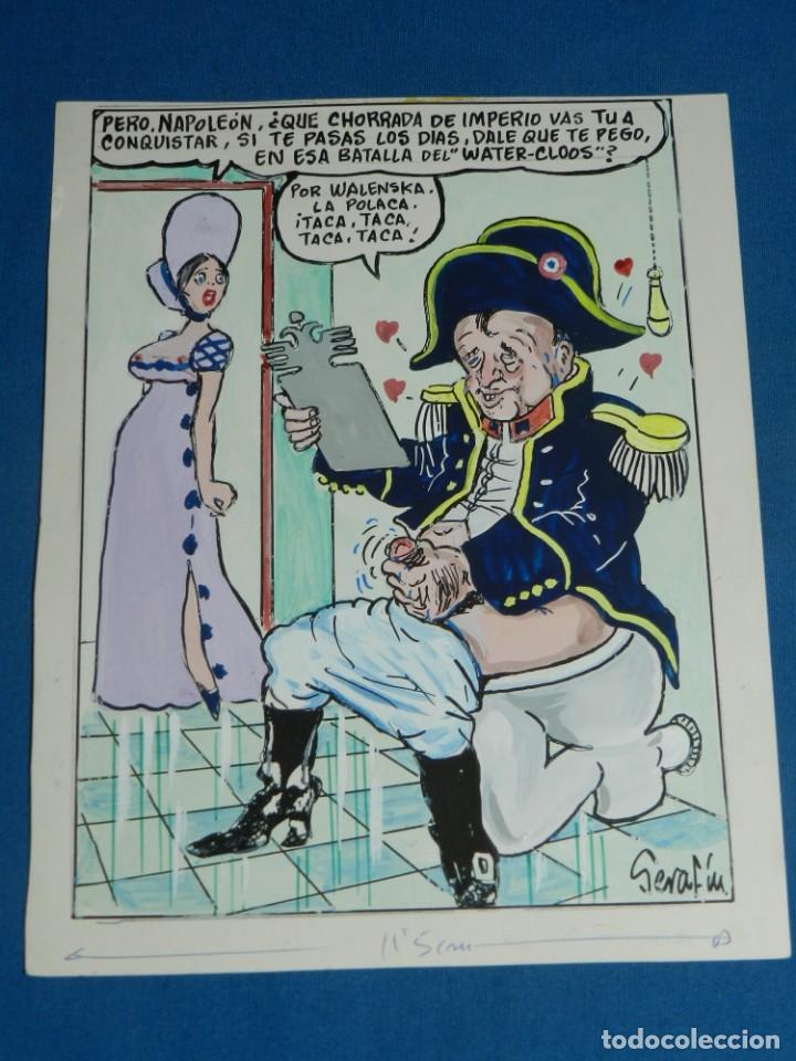 (BD) DIBUJO ORIGINAL DE SERAFIN ROJO - DIBUJO PARA EL PAPUS , CHISTE EROTICO , 22 X 17 CM, (Tebeos y Comics - Art Comic)