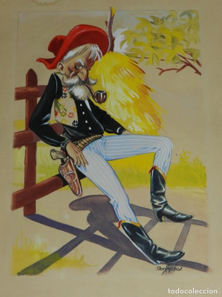 (MS5) DIBUJO ORIGINAL DE MANFRED SOMMER , 32 X 23'5 CM , SEÑALES DE USO (Tebeos y Comics - Art Comic)