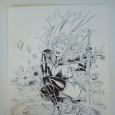 Cómics: ROGER BONET. ILUSTRACION ORIGINAL LADY DEATH. Lote 136464342