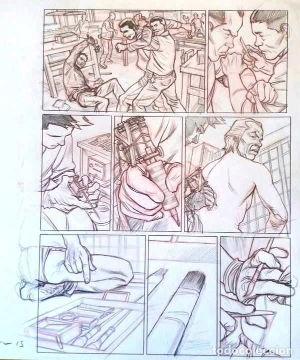 LAPIZ PRELIMINAR ORIGINAL DE MARCIAL TOLEDANO.TEBORI 1. PG.24.BD.DIBUJO TATTOO (Tebeos y Comics - Art Comic)