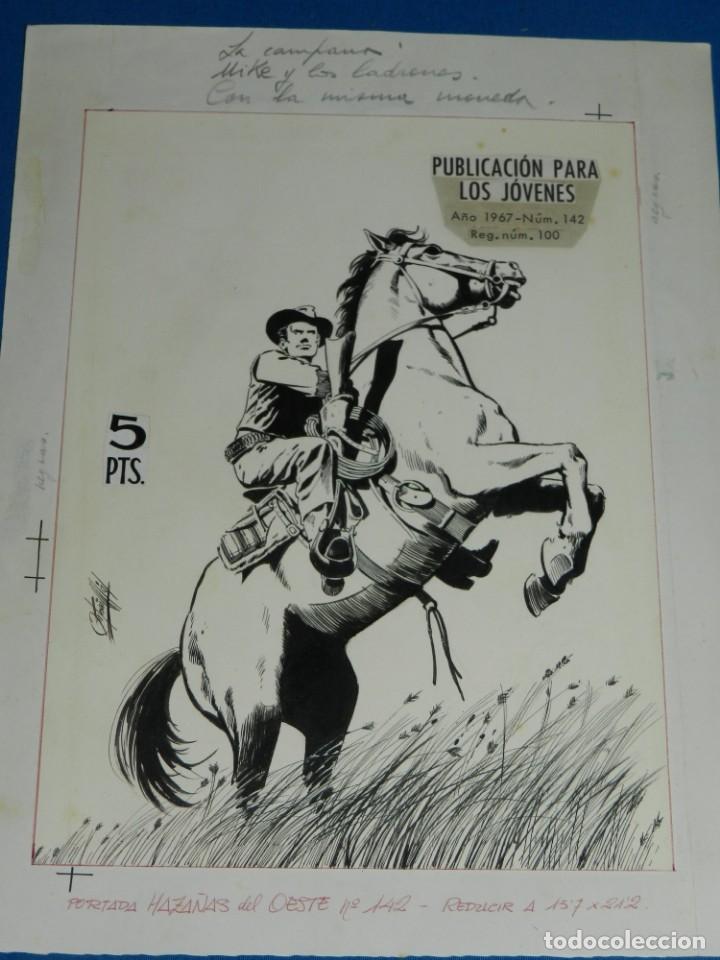 (AM1) PORTADA ORIGINAL DE ANTONIO MAS - HAZAÑAS DEL OESTE 1967 NUM 142 , EDT TORAY (Tebeos y Comics - Art Comic)