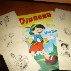 Fumetti: 27 DIBUJITOS ORIGINALES QUE ILUSTRABAN EL ALBUM DE PINOCHO DE LA EDITORIAL ROLLAN, SIN FIRMAR. Lote 138642414
