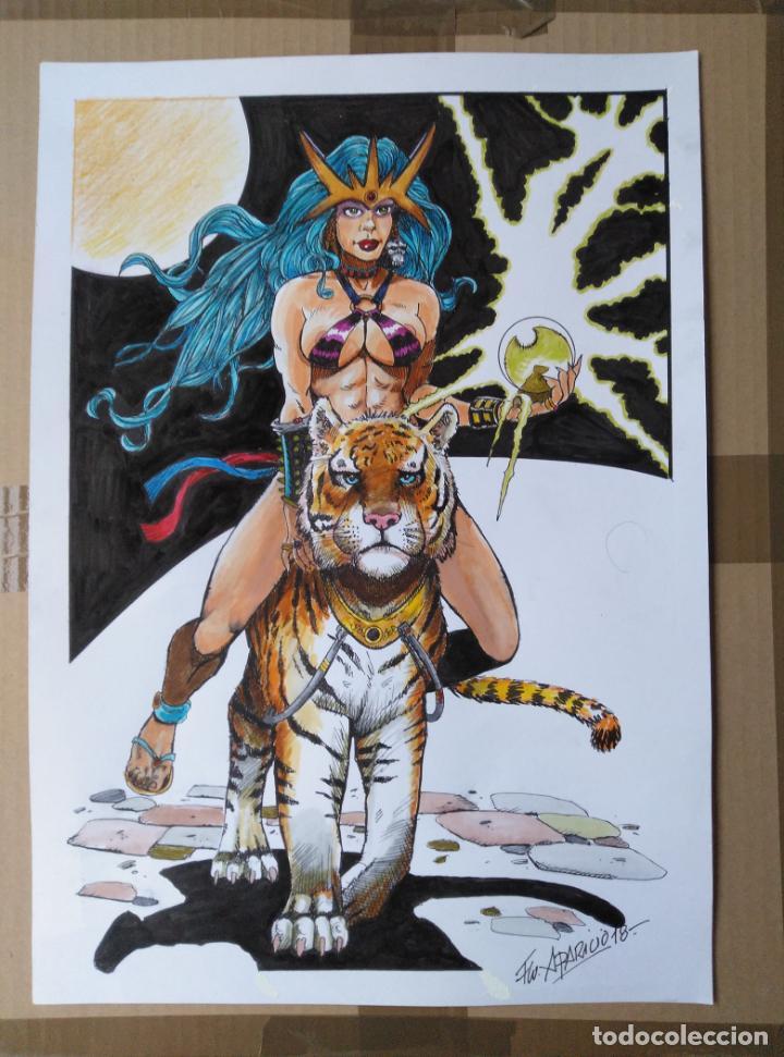 FELIX QUEEN - DIBUJO ORIGINAL A TINTA, FIRMADO. 42 X 30 CM. (Tebeos y Comics - Art Comic)