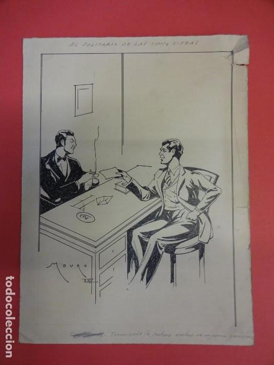 Cómics: MOURO. Original 25 x 19 ctms. Publicado en novela EL SOLITARIO DE LAS CINCO CIFRAS año 1929 - Foto 2 - 139312558