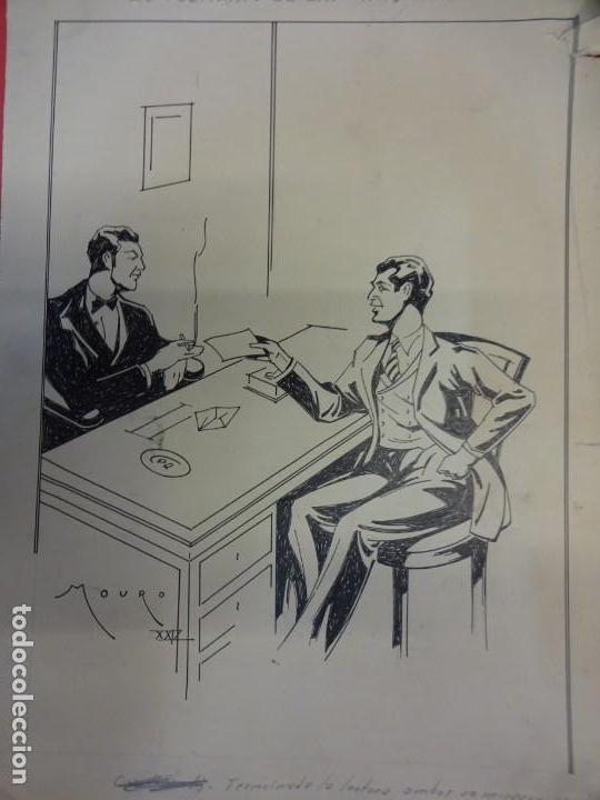 MOURO. ORIGINAL 25 X 19 CTMS. PUBLICADO EN NOVELA EL SOLITARIO DE LAS CINCO CIFRAS AÑO 1929 (Tebeos y Comics - Art Comic)