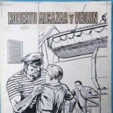 Cómics: DIBUJO ORIGINAL PLUMILLA, VAÑO , PORTADA ROBERTO ALCAZAR Y PEDRIN EXTRA Nº 55 , 1 HOJA , M4. Lote 139462378
