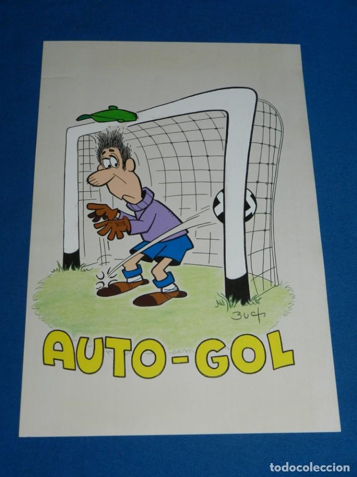 (B1) DIBUJO ORIGINAL DE BUCH - FUTBOL AUTO-GOL , 31 X 21'5 CM, BUEN ESTADO (Tebeos y Comics - Art Comic)