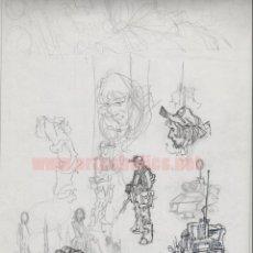 Cómics: PÁGINA ORIGINAL DE ALFONSO AZPIRI: ESTUDIOS DE PÁGINA Y PERSONAJES. Lote 144237274