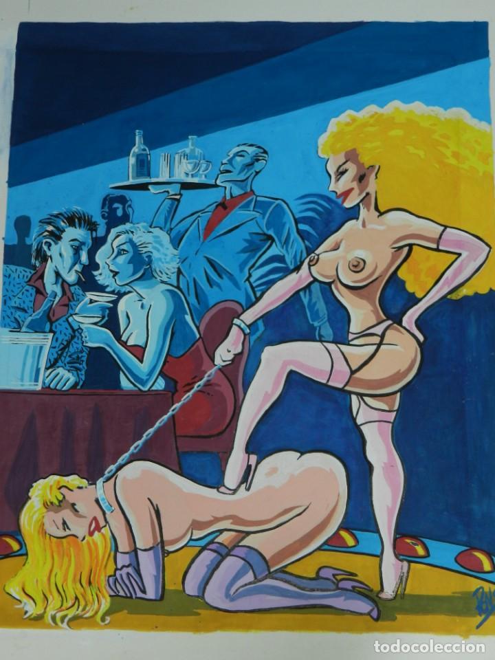 (B/N) DIBUJO ORIGINAL DE ALFREDO PONS - ILUSTRACION A COLOR DE LA REVISTA BARES Y MUJERES , ORIGINAL (Tebeos y Comics - Art Comic)