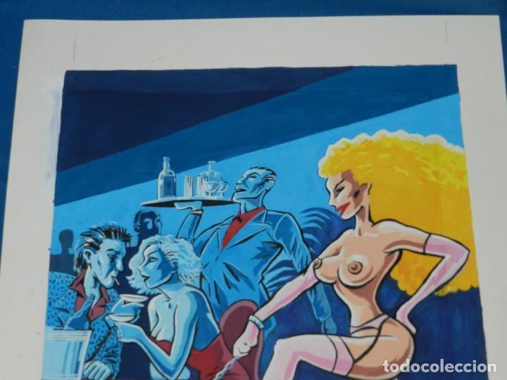 Cómics: (B/N) DIBUJO ORIGINAL DE ALFREDO PONS - ILUSTRACION A COLOR DE LA REVISTA BARES Y MUJERES , ORIGINAL - Foto 5 - 144316530