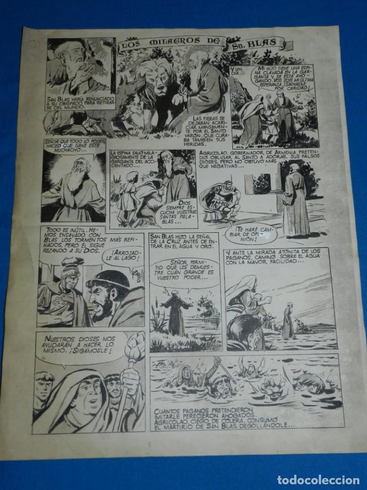 (RL1) DIBUJO ORIGINAL DE RIPOLL - LOS MILAGROS DE SAN BLAS , 43 X 33,5 CM , SEÑALES DE USO (Tebeos y Comics - Art Comic)