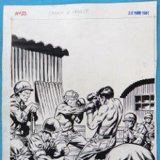 Comics: DIBUJO ORIGINAL PLUMILLA , PORTADA COMANDOS EN ACCION , Nº 33 , BOXEO , VAÑO HIJO , M4. Lote 147758338
