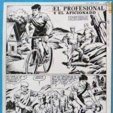 Comics : DIBUJO ORIGINAL PLUMILLA EL PROFESIONAL Y EL AFICIONADO CICLISMO 4 HOJAS , M4. Lote 147759214